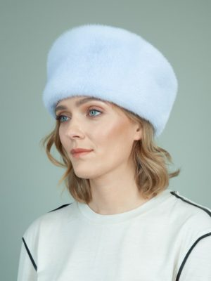 light blue gray mink fur hat for women