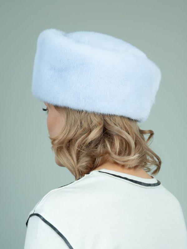 light blue gray mink fur hat for women