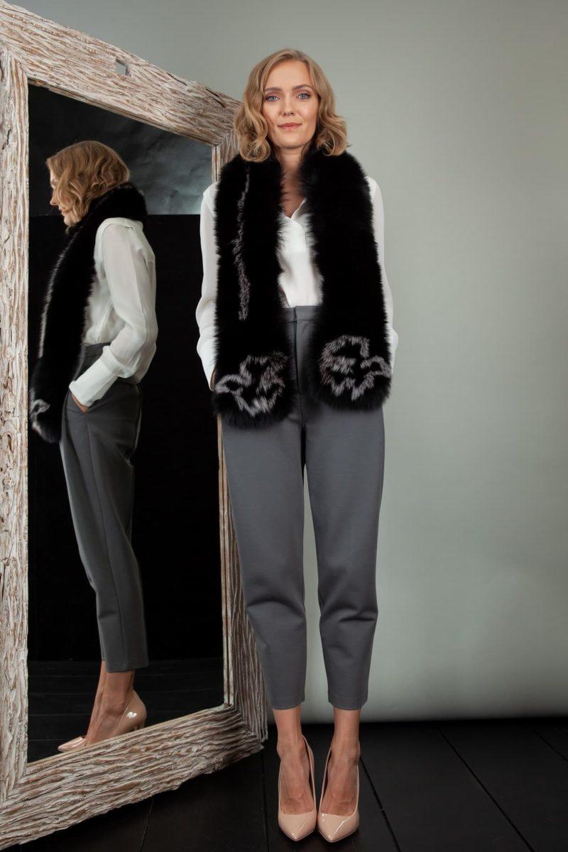 long black fox fur wide scarf collar wrap