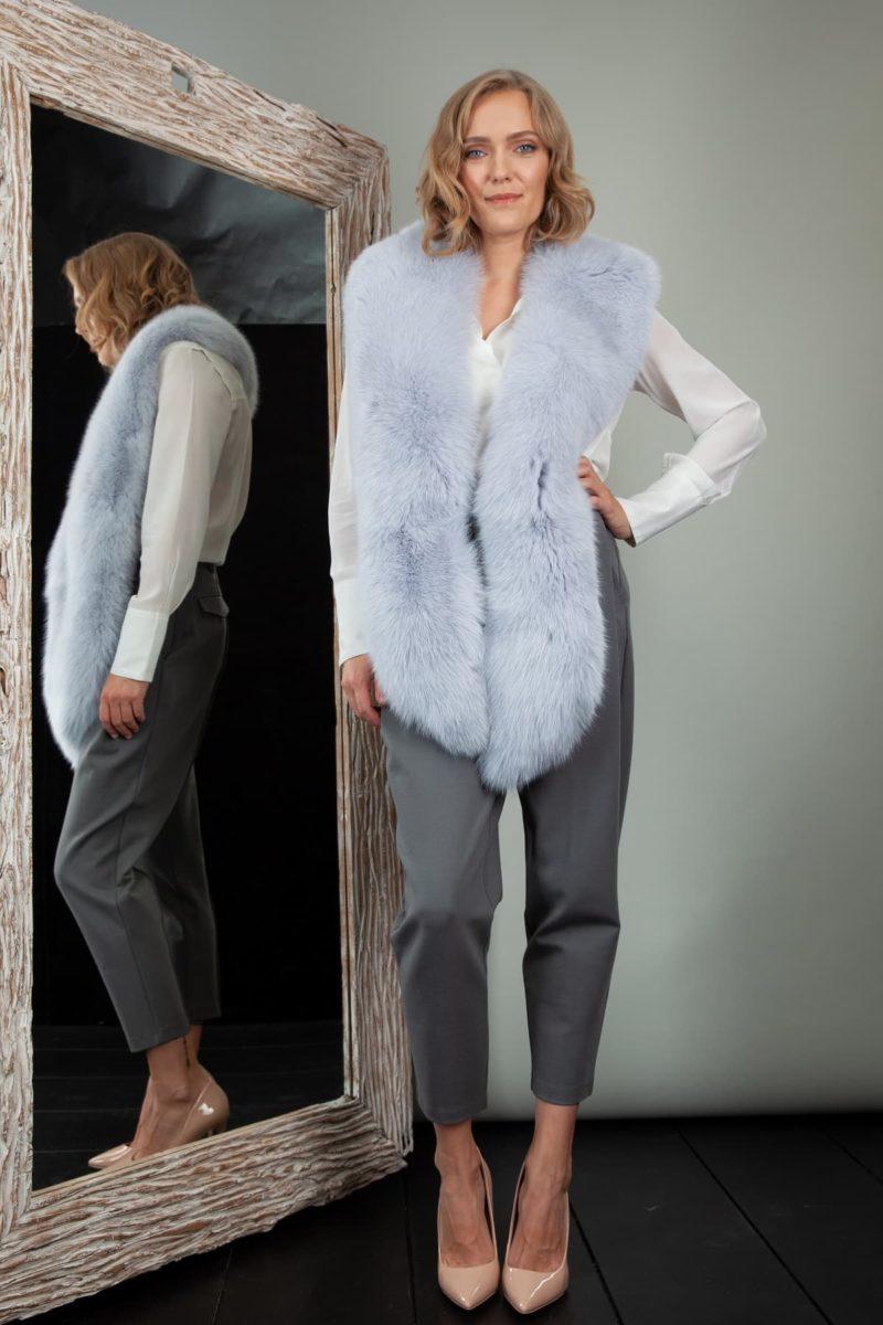 long blue fox fur wide collar neck wrap