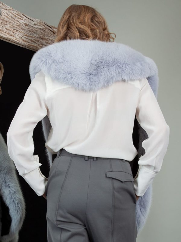 long light blue fox fur collar