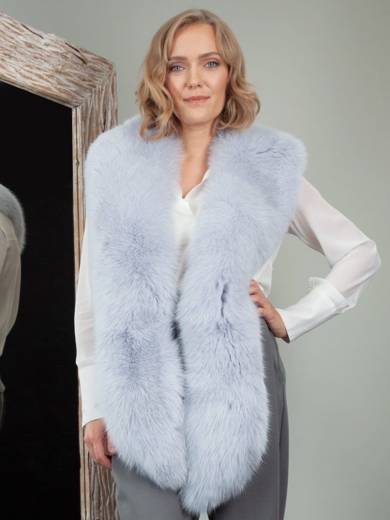 long light blue fox fur collar