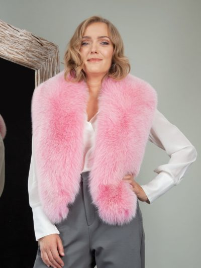 pink fox fur wide collar wrap