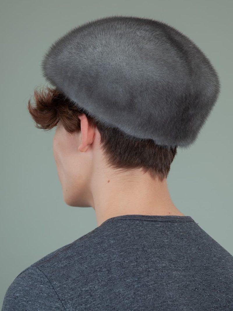 natural blue iris mink fur snap hat for men