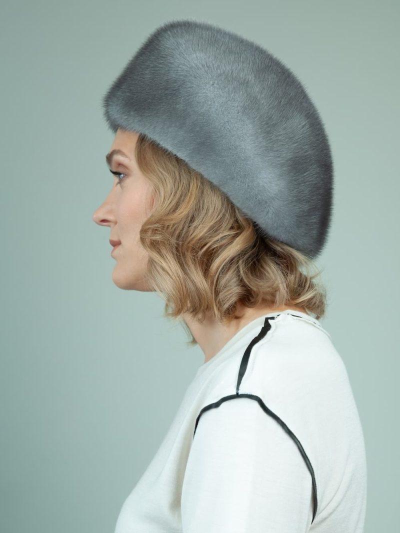 natural blue iris mink fur snap hat for women