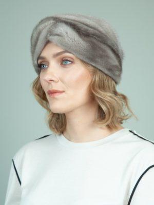 natural blue iris mink fur headband head wrap for women