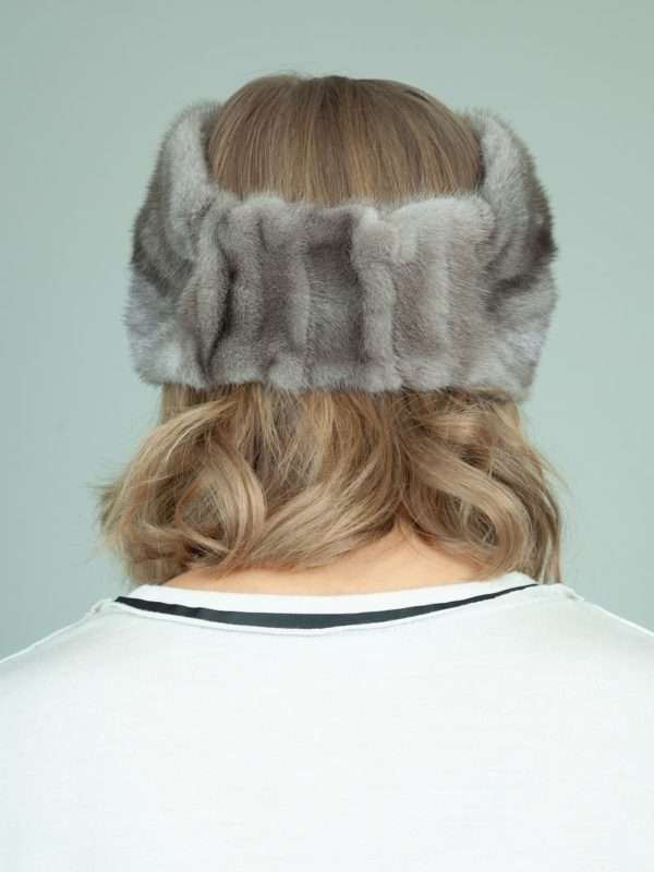 natural blue iris mink fur headband head wrap for women