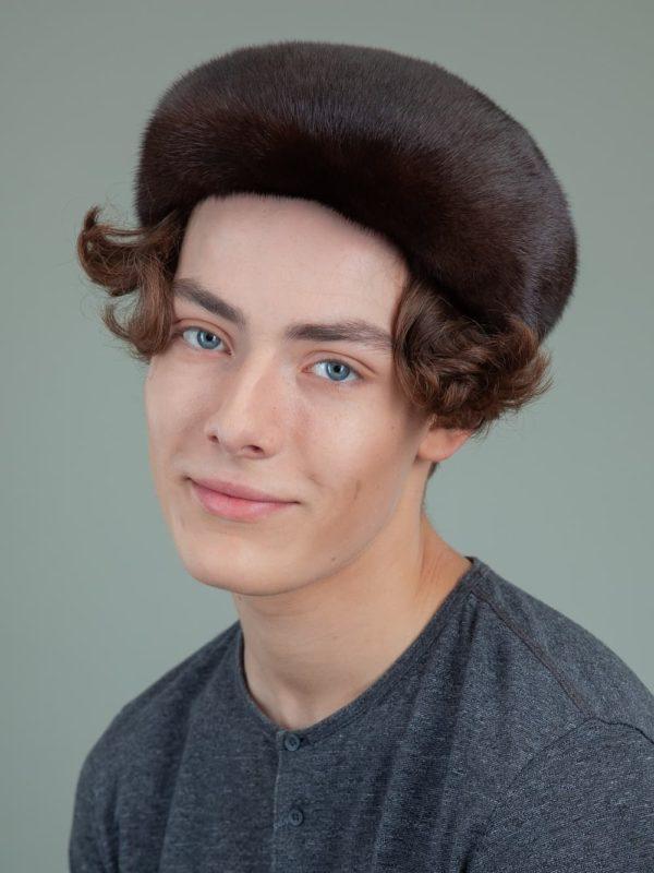 natural brown mink fur snap hat for men and women