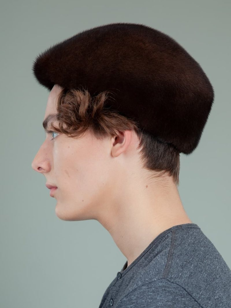 natural brown mink fur snap hat for men and women