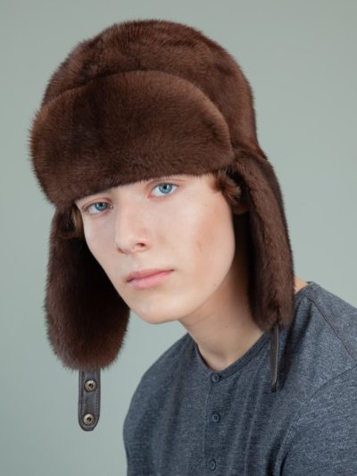natural brown mink fur trapper hat with ear flaps for men