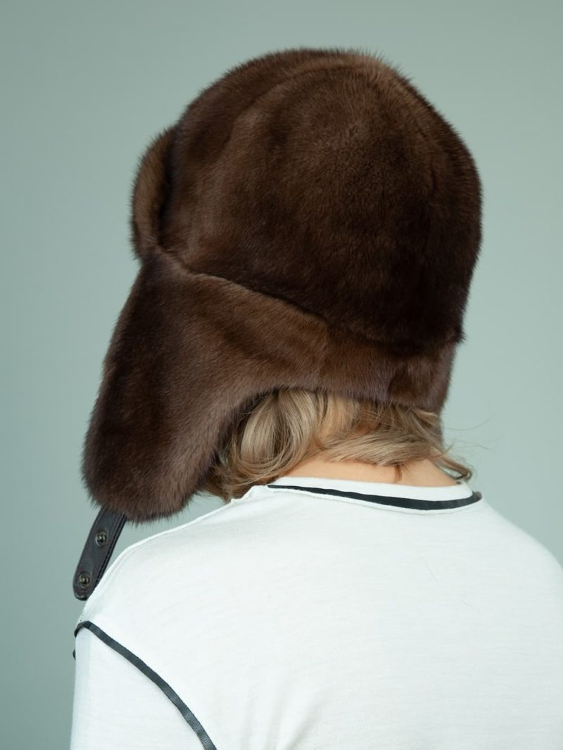 natural brown mink fur trapper hat with ear flaps for women