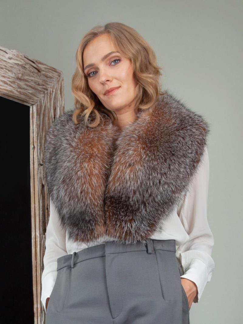 natural crystal brown fox fur wide collar for women