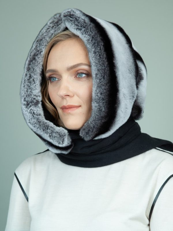 gray rex rabbit fur hooded scarf with black cashmere lining for women