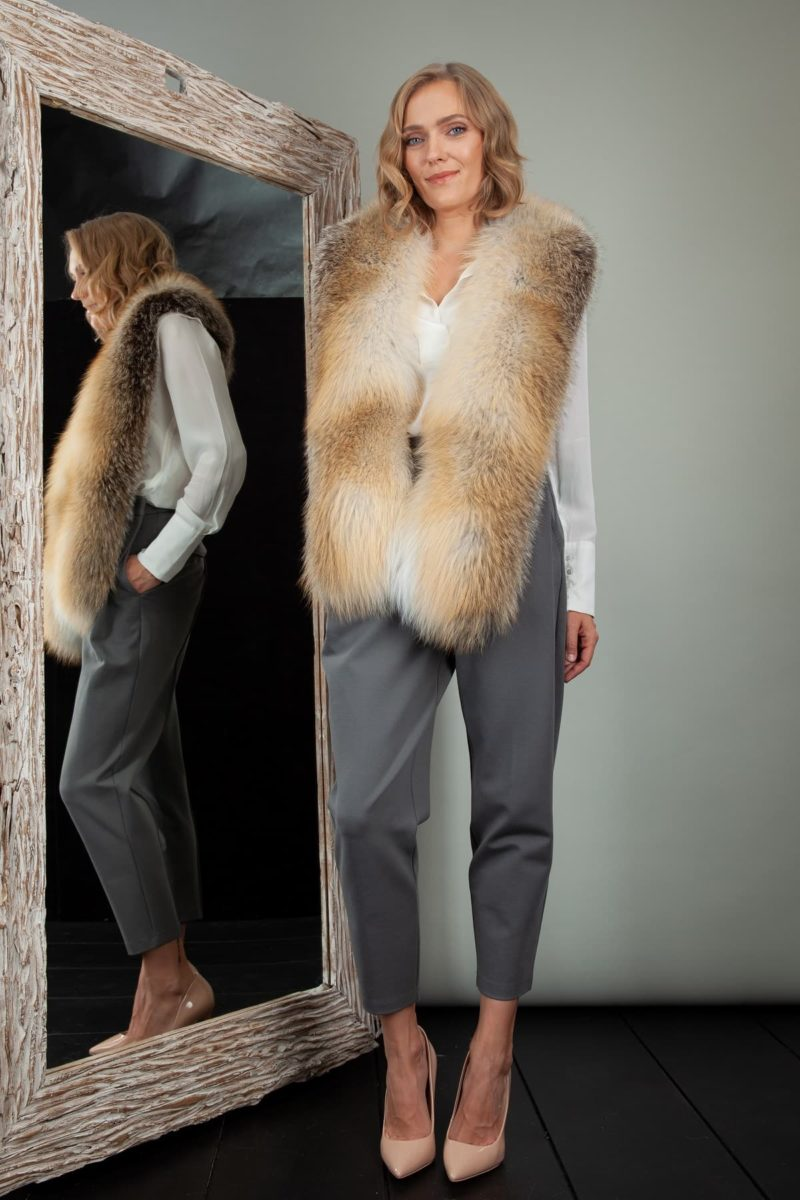 natural island fox fur wide collar wrap