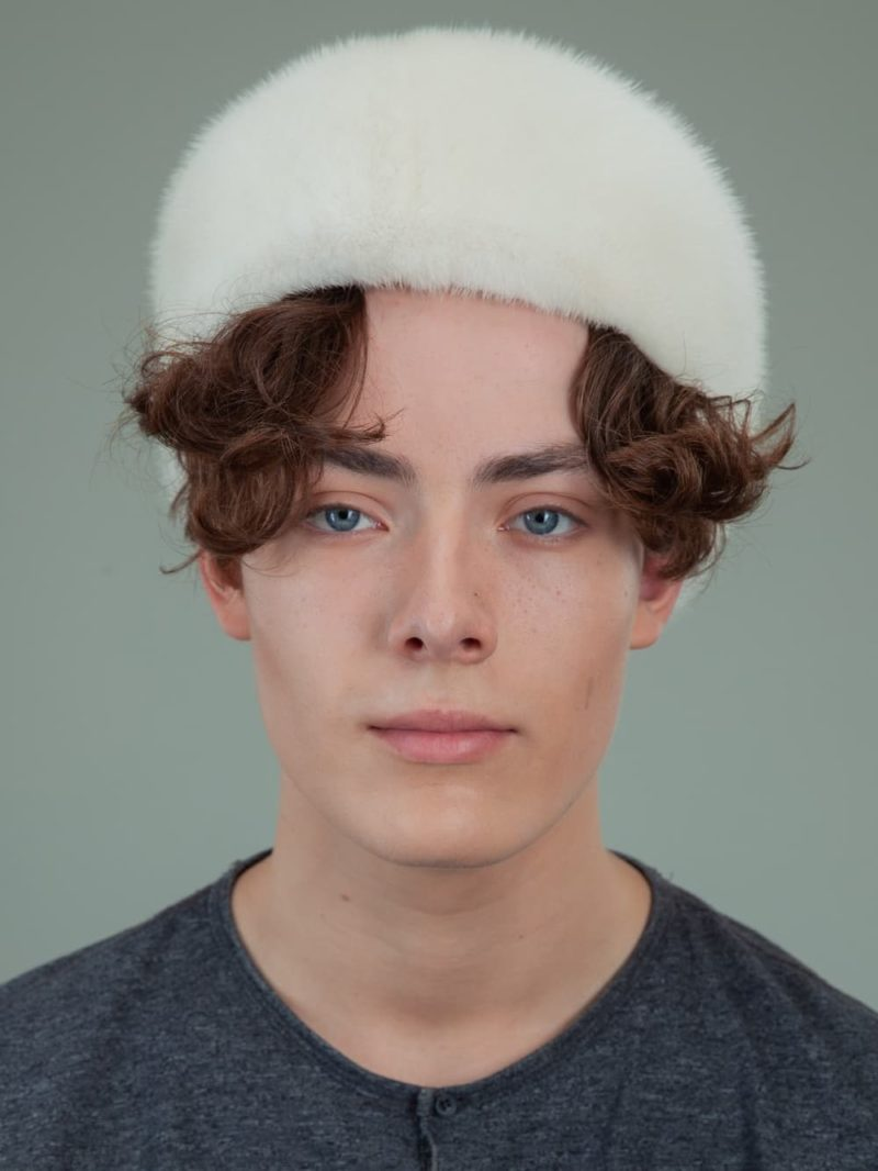 natural pearl mink fur snap hat for men
