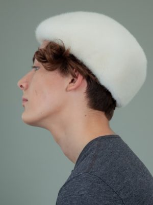 natural pearl mink fur snap hat for men