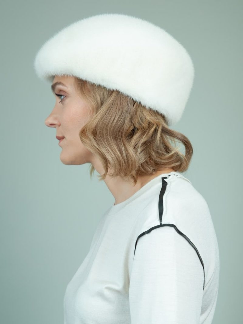 natural pearl mink fur snap hat for women