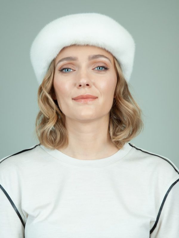 natural pearl mink fur snap hat for women