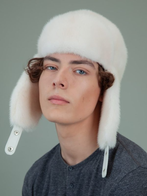 natural pearl mink fur trapper hat with ear flaps for men