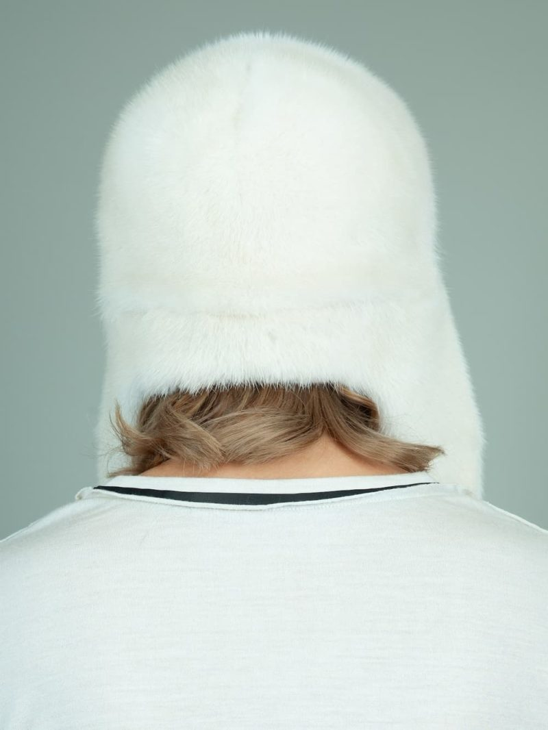 natural pearl mink fur trapper hat with ear flaps for women