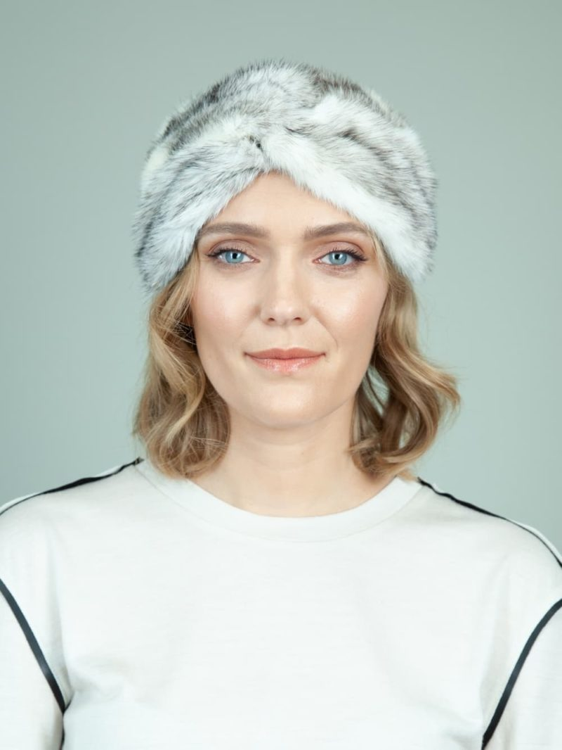 natural white cross mink fur headband head wrap for women