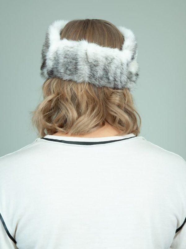 natural white cross mink fur headband head wrap for women