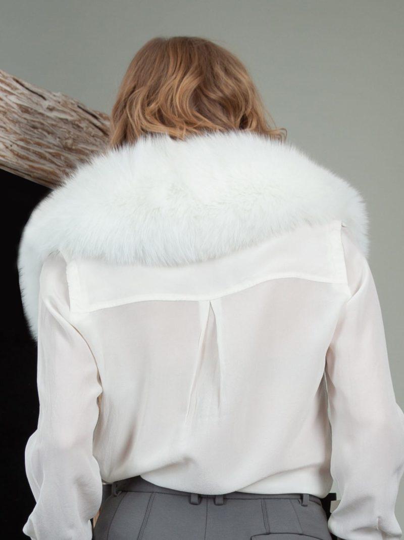 natural white fox fur wide small collar