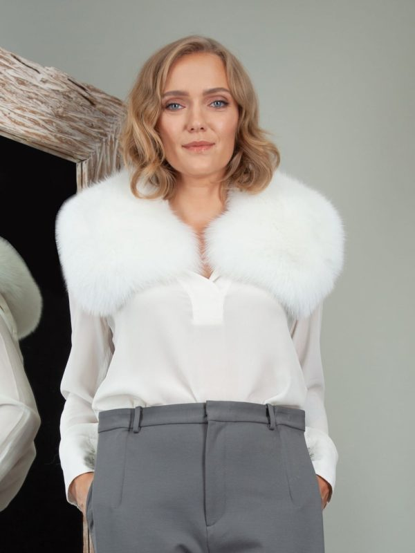 natural white fox fur wide small collar