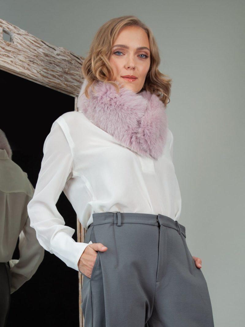 dusty pink fox fur scarf