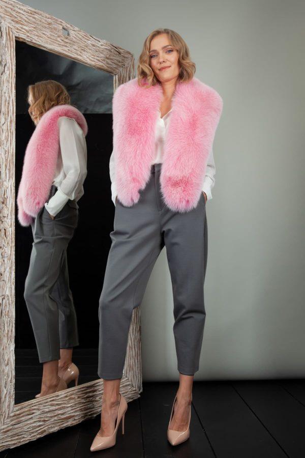 pink fox fur wide collar wrap