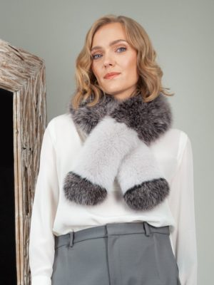 multicolor pink gray fox fur long scarf