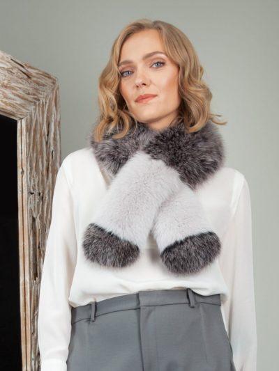 multicolor pink gray fox fur long scarf