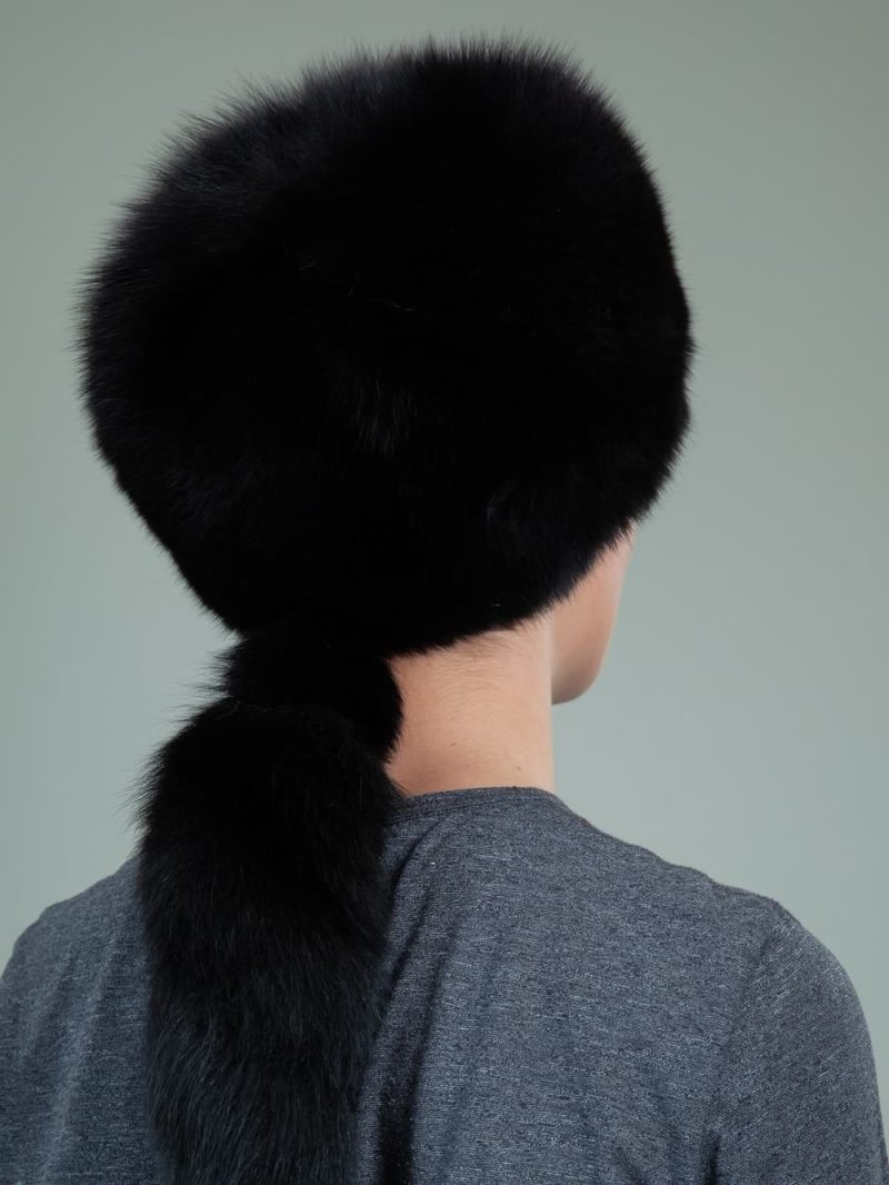 round black cossack fox fur hat men with tail