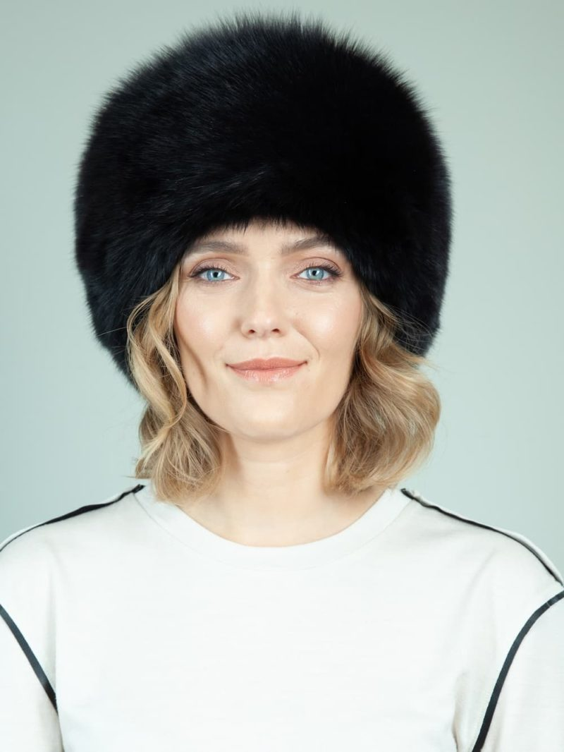 round black cossack fox fur hat women with tail