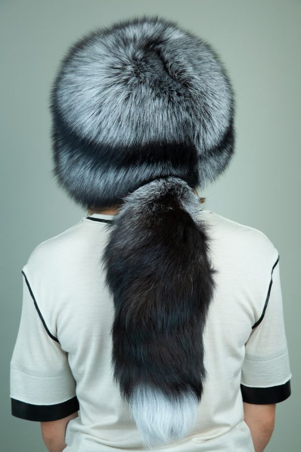 round cossack silver fox fur hat for women with tail