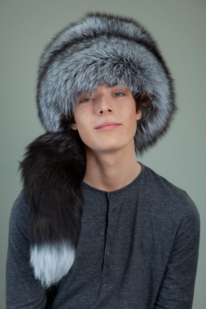 round cossack silver fox fur hat for men with tail