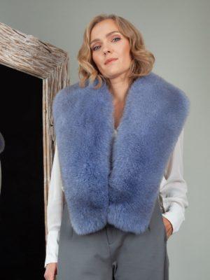sky blue fox fur wide collar