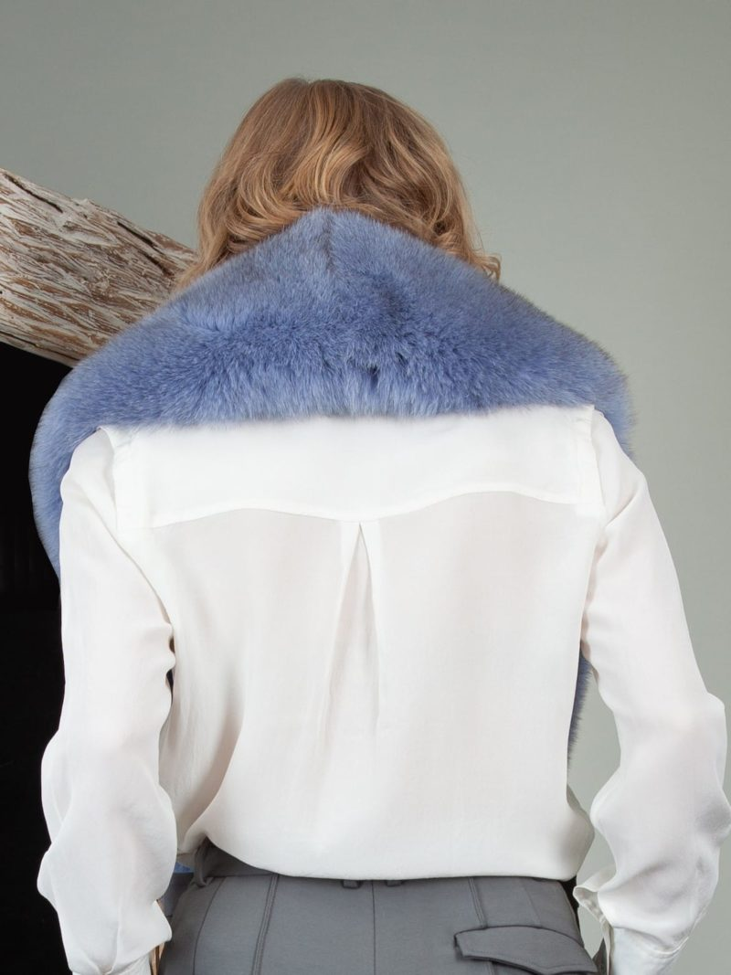 sky blue fox fur wide collar