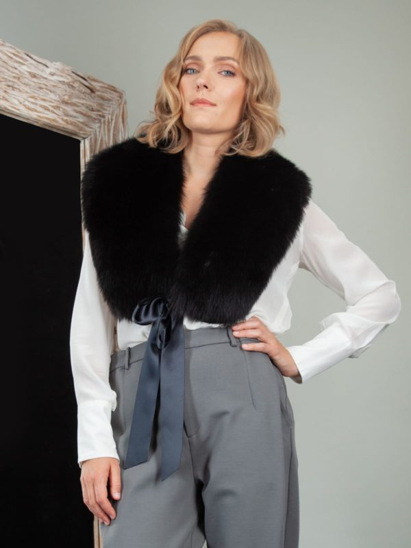 tied black fox fur wide collar wrap