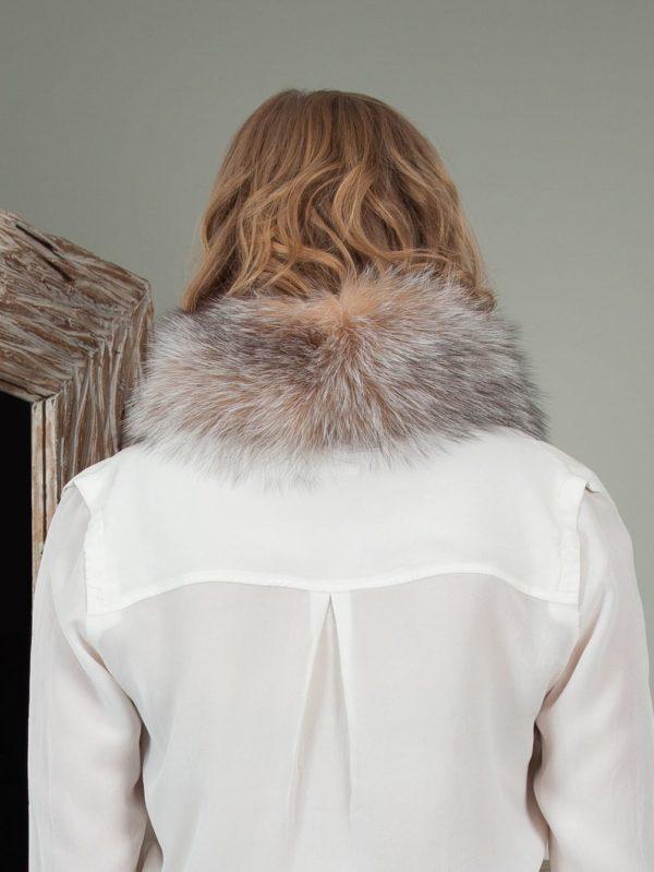 tied beige brown fox fur scarf