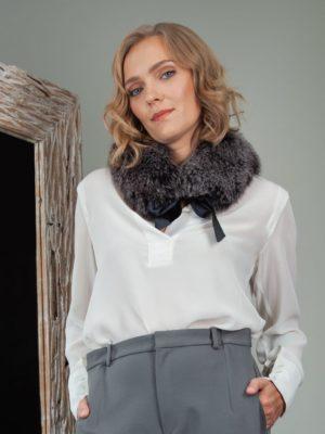 tied gray fox fur scarf