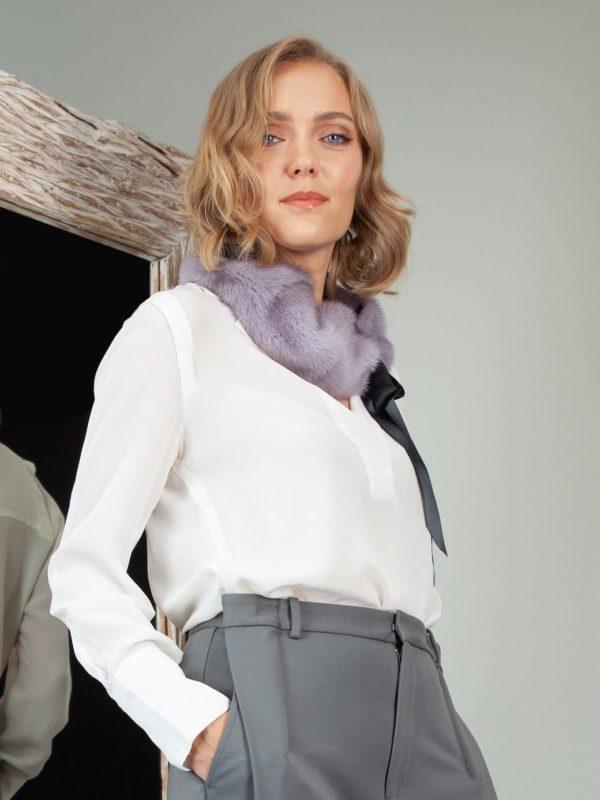 tied lavender purple mink fur scarf