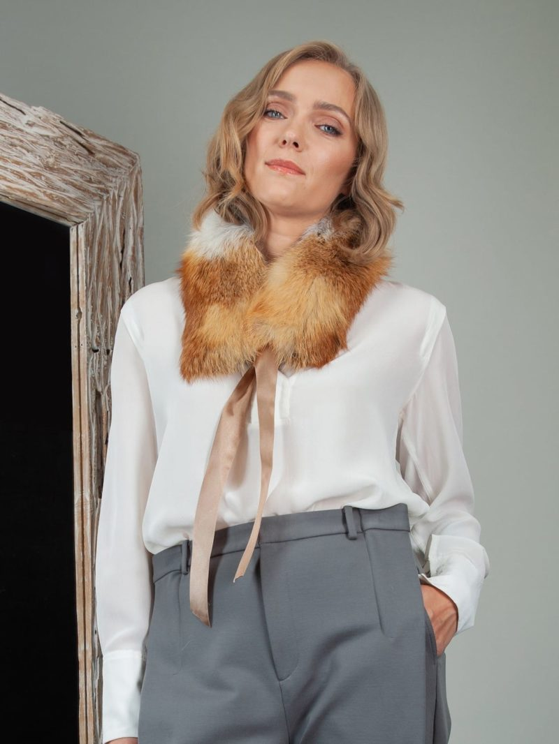 tied natural red fox fur scarf