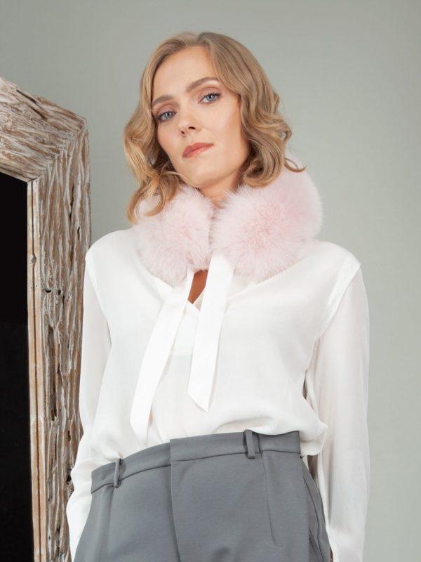 tied pink fox fur scarf