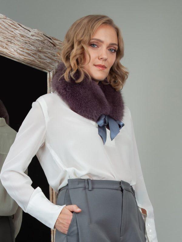 tied purple fox fur scarf