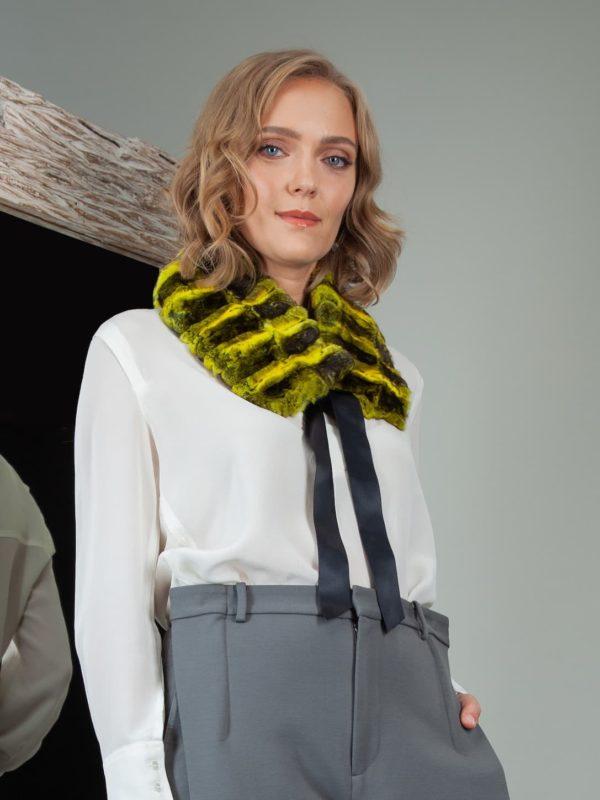 tied yellow chinchilla fur scarf