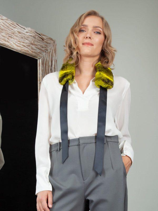 yellow chinchilla fur scarf for women