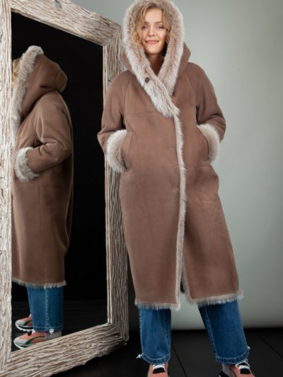 beige fur lined sheepskin fur hooded coat