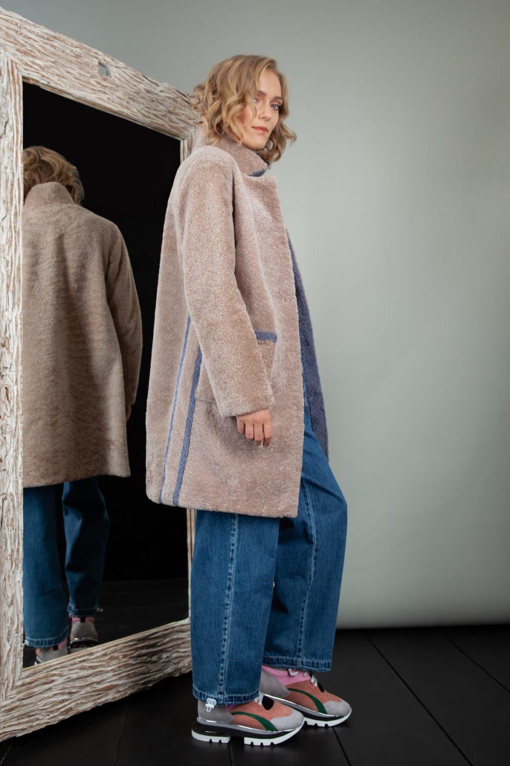 beige sheepskin coat with blue fur stripes for women