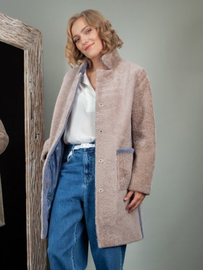beige sheepskin coat with blue fur stripes for women